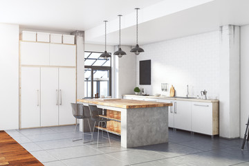 Contemporary loft white kitchen interior