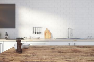 Empty wooden kitchen counter