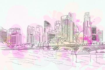 City drawing backdrop