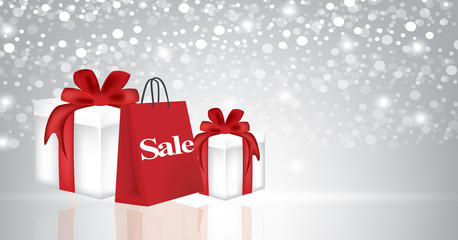 Christmas presents with shopping bag, vector