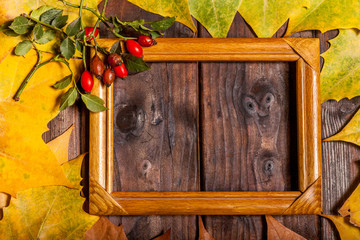 Autumn Leaves and picture frame over old wooden background