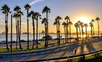 California sunset in the coast of Long Beach