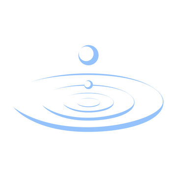 Drop falls forming a circles on water sign. Droplet graphic icon isolated on the white background. Vector illustration