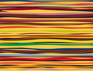 Playful colorful lines against yellow background