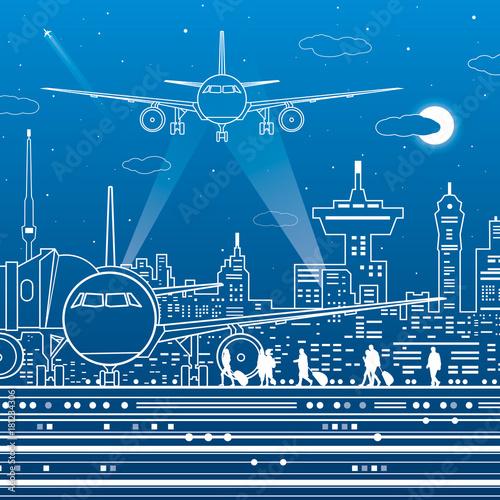 Airport illustration  Aviation transportation infrastructure