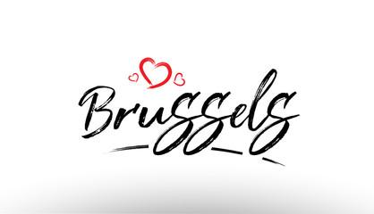 brussels europe european city name love heart tourism logo icon design