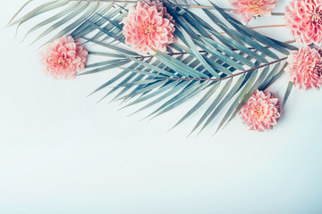 Creative layout with tropical palm leaves and pastel pink flowers on  light turquoise blue desktop background, top view, place for text, horizontal