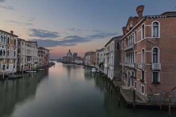 Sunrise photograph from Academia Bridge on the Grand Canal in Venice
