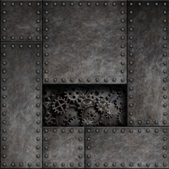 Wall Mural - Old metal with cogs and gears behind. Steam punk technology 3d illustration background.