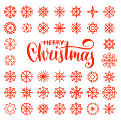 Vector Merry Christmas lettering design on snowflakes background. New Year seamless pattern for greeting card.