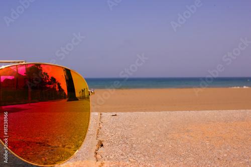 618045b45c Sunglasses. Beautiful summer beach and sunglasses. Costa del Sol ...