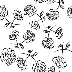 Drawing vector graphics with floral pattern. Seamless background. Floral flower natural design. Graphic, sketch drawing. Rose