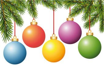 Weihnachtskugeln am Baum hängend Bunte Tannenbaum Christbaum Kugeln Set Vektor Illustration isoliert auf weißem Hintergrund