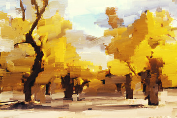 Abstract painting of yellow forest in autumn