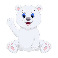 Cute cartoon polar bear waving his hand. Vector illustration isolated on white background.
