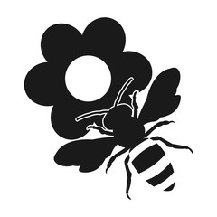 on the flowers. honey bee. flat design icon