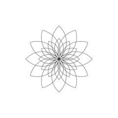 Abstract flower outline logo icon design vector illustration