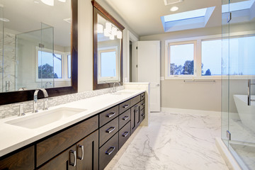 Master bathroom interior with double vanity cabinet