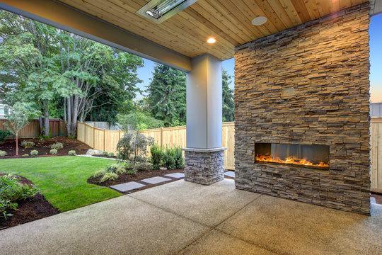 Outside Patio boasts gorgeous stone Fireplace