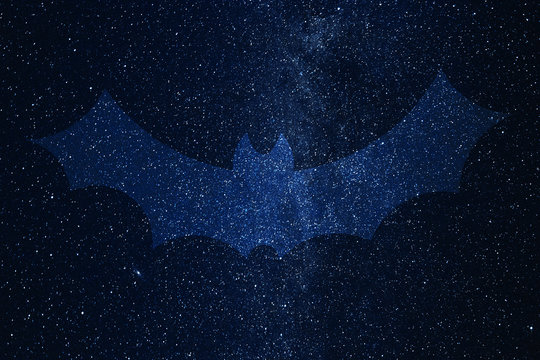 Bat silhouette on background of Universe. Space sky in the night.