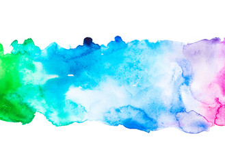 spectrum   watercolor paint splash  drop . multicolor illustration for design wedding invitation, greeting or birthday card, web banner, tag, label, logo and text on white background