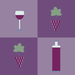 Seamless background with a bottle of wine, a glass and grapes.