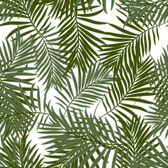 Tropical seamless pattern with exotic palm leaves. Hawaiian style.