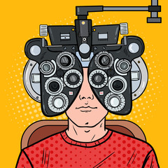 Pop Art Man Patient at Optometric Clinic with Optical Phoropter. Eye Exam. Vector illustration