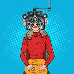 Pop Art Woman Patient at Optometric Clinic with Optical Phoropter. Eye Examination. Vector illustration