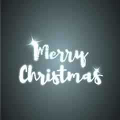Merry Christmas. Shining text on dark background. Vector illustration