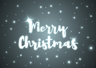Merry Christmas. Shining text on dark background with sparks and stars. Vector illustration