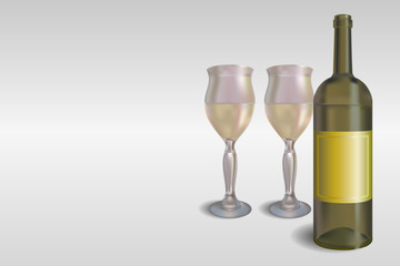 White wine bottle with glasses vector concept illustration