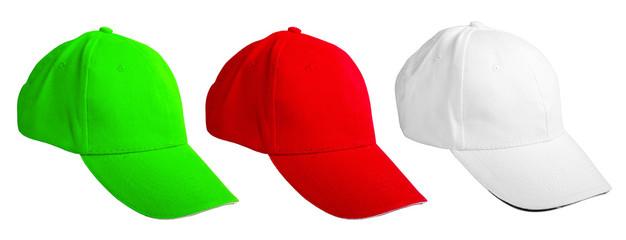 colored baseball cap. isolated on white background
