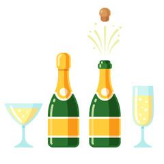 Champagne bottle and glasses set