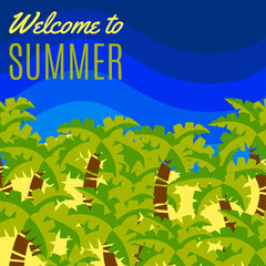 Welcome to Summer vector Postcard