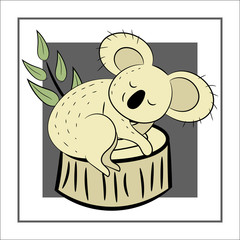 Koala, a hand drawn vector illustration of a cute koala, the koala, white line, and background trees.