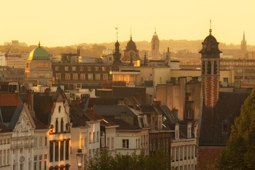 Old city of Brussels, Belgium before sunset