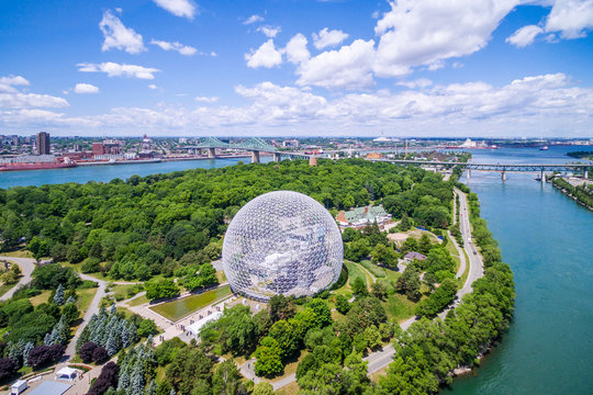 Aerial view of Montreal cityscape including Biosphere and St Lawrence river in Montreal, Quebec, Canada.