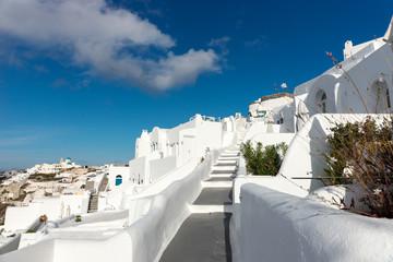 Stairs down in the beautiful city of Oia on Santorini island, Greece