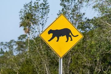 Panneau routier, Puma de Floride, Panthère de Floride, Puma concolor coryi, Floride, Etats Unis