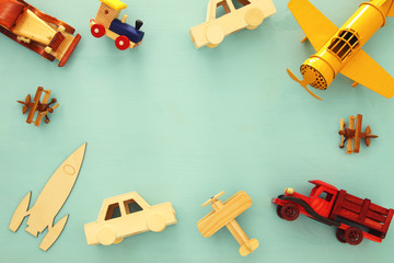 Set of various cars and airplanes toys. Top view image.