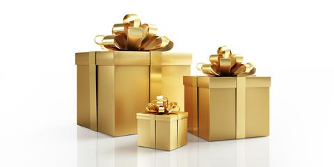 Goldene Geschenkpakete und Päckchen