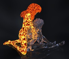 Ice and fire 3d illustration