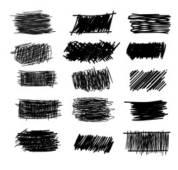 Set of simple bold hatching doodle lines, curves, frames. Pencil collection sketch isolated on white. Vector marker line blots set. Hand drawn black grunge scribble backgrounds for your design.