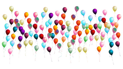 Realistic Balloons Confetti. Cool Isolated Vector Illustration. Flying Up or Falling from the Sky 2d Helium Realistic Balloons. Jolly Colorful Party Celebration, New Year, Birthday Festive Background