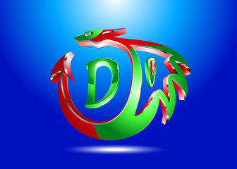 3D-red and green dragon-logo