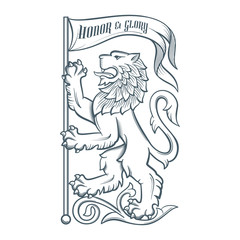 Image of the heraldic lion with flag