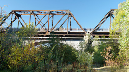 Panoramic view of Winters' famous Historic Trestle Train Bridge, viewed from the Putah Creek watershed, in the Autumn of California