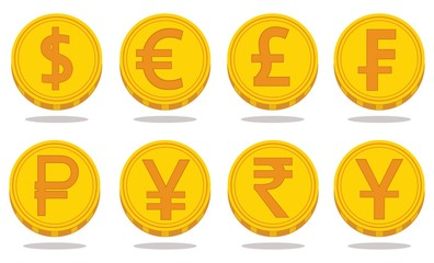 Collection of icons with currency symbols. Vector illustration
