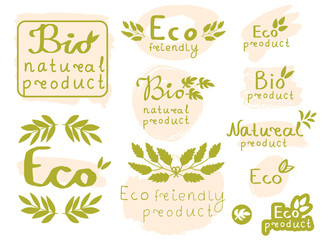 Set of green and beige elements for design with text Natural, Bio, Eco product, grunge brush strokes, branches and leaves. Vector illustration.